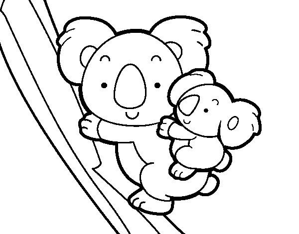 Coloriage de Mère koala pour Colorier
