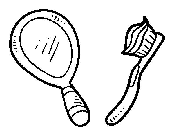 Coloriage de Miroir et brosse à dents pour Colorier