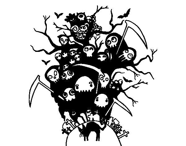 Coloriage de Nuit de Halloween pour Colorier