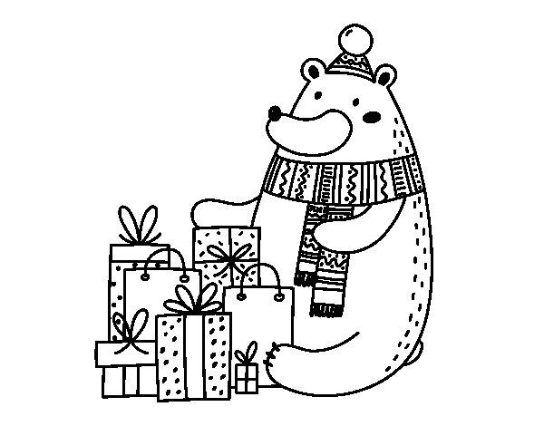 Coloriage de Ours avec des cadeaux de Noël pour Colorier