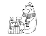 <span class='hidden-xs'>Coloriage de </span>Ours avec des cadeaux de Noël à colorier