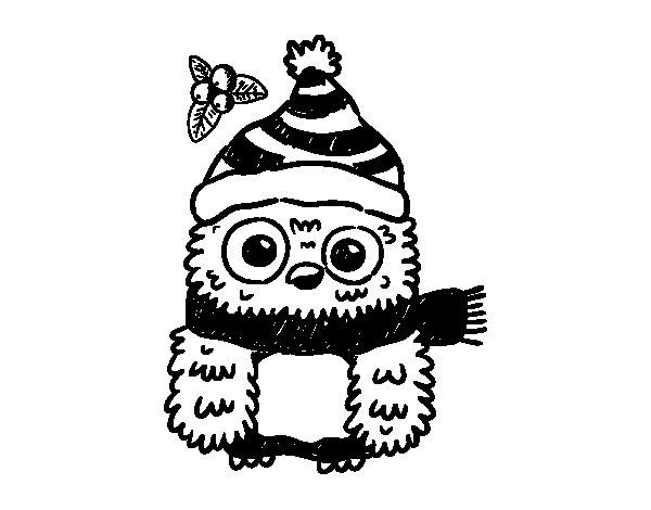 Coloriage de Owl préparé pour Noël pour Colorier