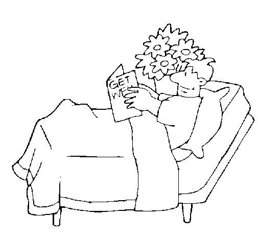 Coloriage de Patient qui lit pour Colorier