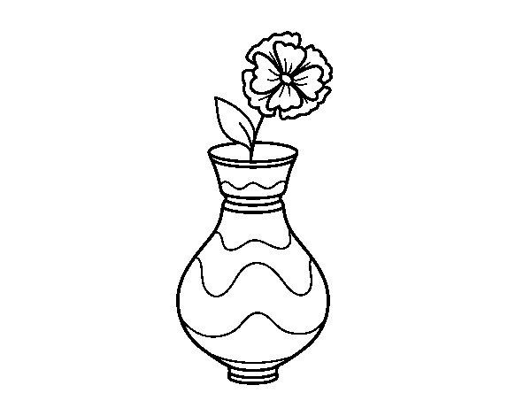 Coloriage de Pavot avec vase pour Colorier