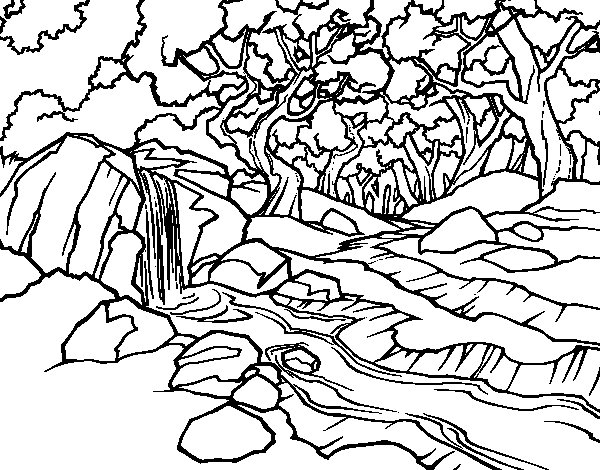 Coloriage de paysage de for t avec une rivi re pour colorier - Coloriage de paysage ...