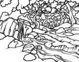 <span class='hidden-xs'>Coloriage de </span>Paysage de forêt avec une rivière à colorier