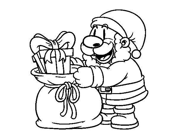 Coloriage de Père Noël donner des cadeaux pour Colorier