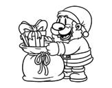 <span class='hidden-xs'>Coloriage de </span>Père Noël donner des cadeaux à colorier