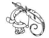 <span class='hidden-xs'>Coloriage de </span>Père Noël écrit à colorier