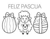 <span class='hidden-xs'>Coloriage de </span>Petit mouton avec des oeufs de Pâques à colorier