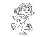 <span class='hidden-xs'>Coloriage de </span>Petite fille avec plage seau et pelle à colorier