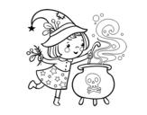 <span class='hidden-xs'>Coloriage de </span>Petite sorcière avec potion à colorier