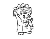 <span class='hidden-xs'>Coloriage de </span>Pingouin avec cadeau de Noël à colorier