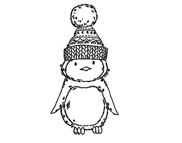 Coloriage de Pingouin avec chapeau d'hiver pour Colorier