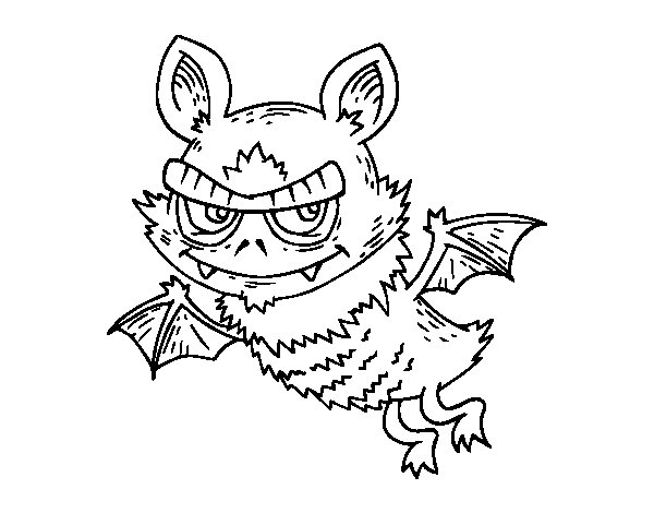 Coloriage de Pipistrello de Halloween pour Colorier