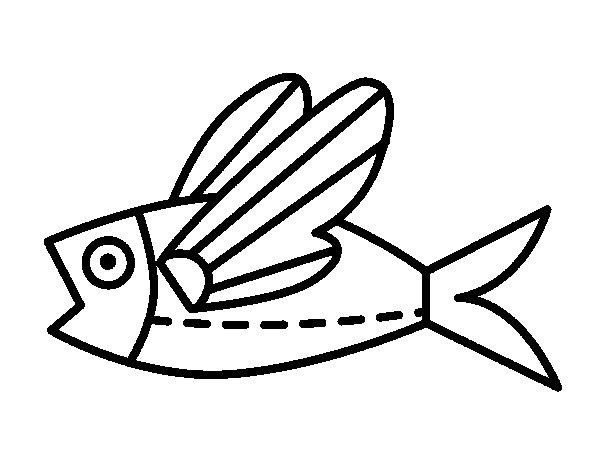 Coloriage de poisson volant pour colorier for Imagenes de un estanque para colorear