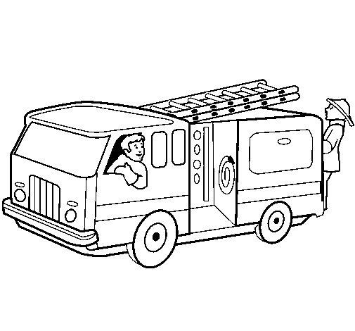 Coloriage de Pompiers dans le camion pour Colorier