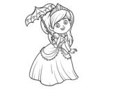 <span class='hidden-xs'>Coloriage de </span>Princesse avec parasol à colorier