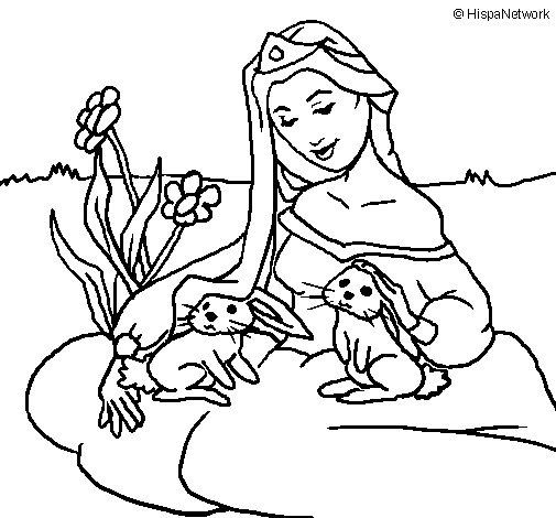 coloriage de princesse du bois pour colorier - Coloriage De Princesse En Ligne