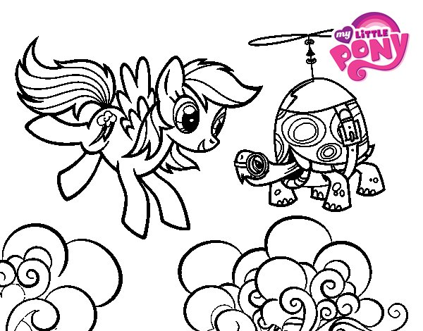 Coloriage de Rainbow Dash and Tank Turtle pour Colorier