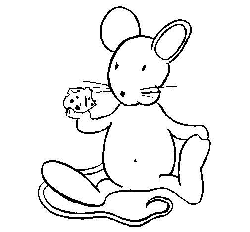 Coloriage de rat avec du fromage pour colorier - Dessin d un rat ...