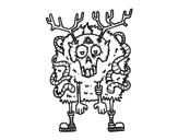<span class='hidden-xs'>Coloriage de </span>Renne zombie à colorier