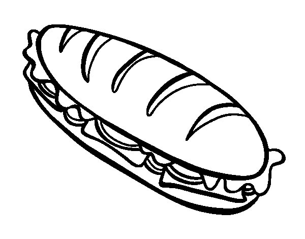 Coloriage de sandwich complet pour colorier for Sandwich coloring page
