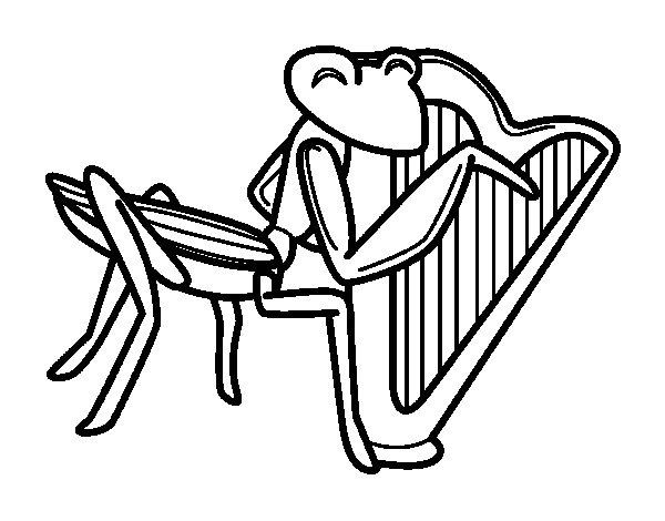 Coloriage de Sauterelle avec harpe pour Colorier