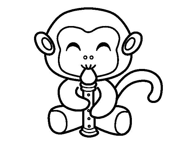 Coloriage de singe fl tiste pour colorier - Dessin de singes ...