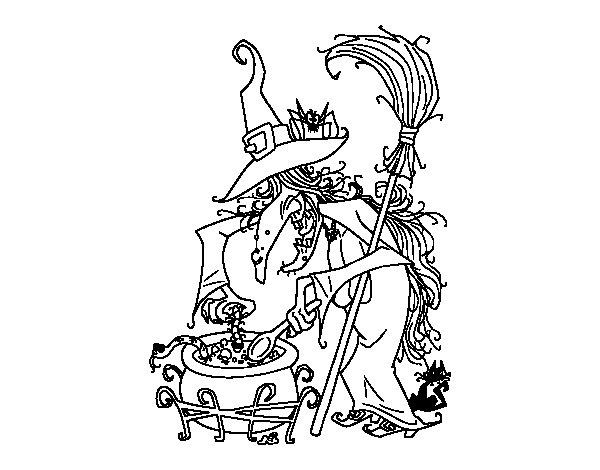 Coloriage de sorci re avec potion pour colorier - Jeux de sorciere potion magique gratuit ...