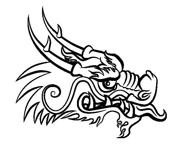 Coloriage de t te de dragon roux pour colorier - Dessin de tete de dragon ...