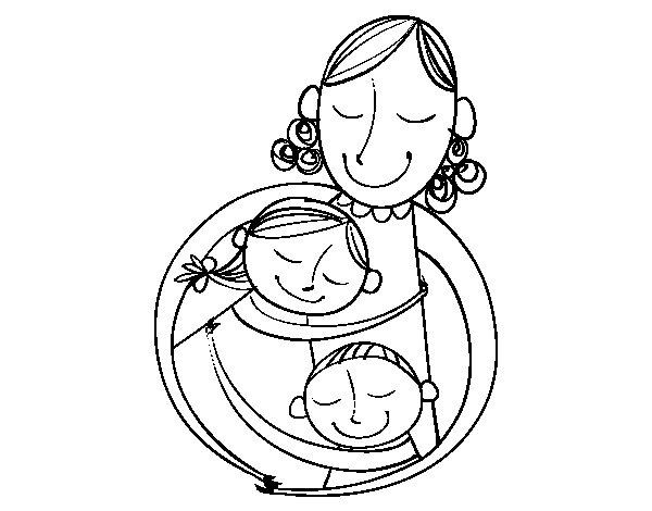 Coloriage de un c lin pour une maman pour colorier - Dessin de calin ...