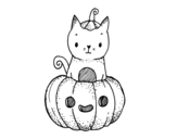 <span class='hidden-xs'>Coloriage de </span>Un chaton d'Halloween à colorier