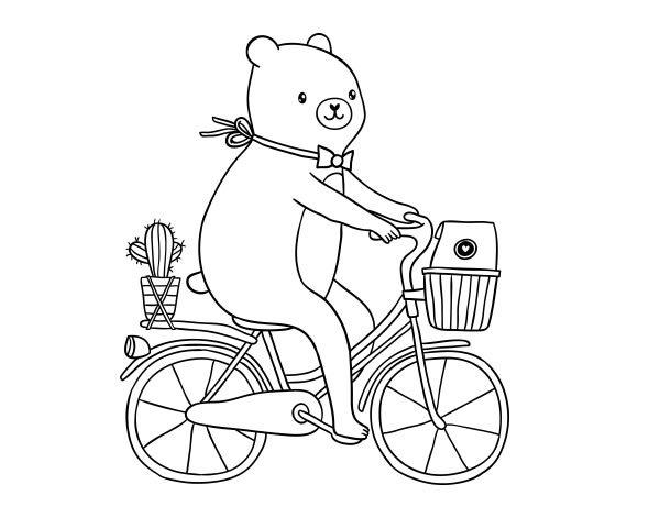 Coloriage de Un ours à vélo pour Colorier