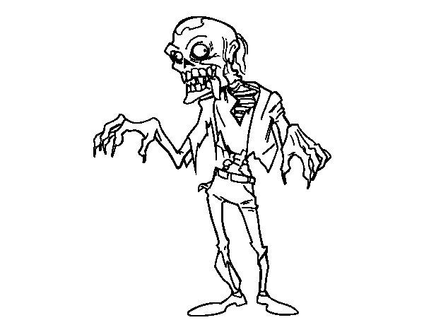 Coloriage de un zombie pour colorier - Zombie dessin ...