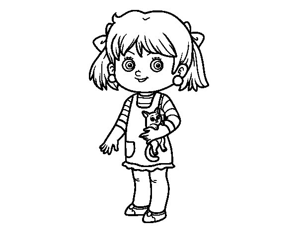 Coloriage de une fillette avec chaton pour colorier - Coloriage fillette ...