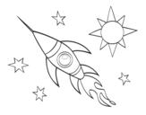 <span class='hidden-xs'>Coloriage de </span>Une fusée aérospatiale à colorier