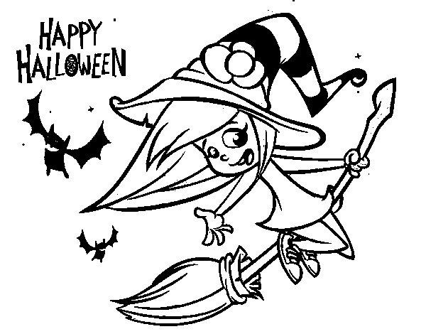 Coloriage de Une sorcière d'Halloween pour Colorier