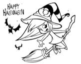 <span class='hidden-xs'>Coloriage de </span>Une sorcière d'Halloween à colorier