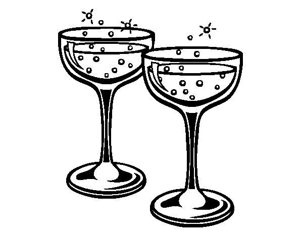 Coloriage de verres champagne pour colorier - Verre coloriage ...