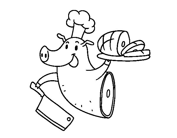 Coloriage de Viande de porc pour Colorier