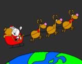 Coloriage Père Noël répartissant des cadeaux 3 colorié par alan
