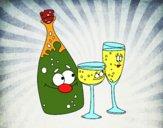 Bouteille de champagne et flûte
