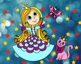 Princesse avec le chat et le papillon