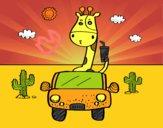 Coloriage Girafe conduite colorié par raphael
