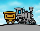Coloriage Train avec wagon colorié par raphael