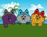 Coloriage 3 chiots colorié par Carine