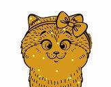 Coloriage Une petite chatte avec ruban colorié par Carine