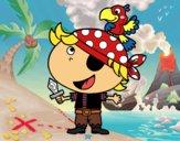 Pirate garçon avec un perroquet