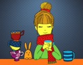Fille avec un foulard et une tasse de thé